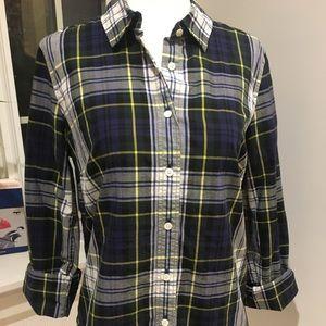 "J. Crew ""Perfect Shirt"" in Navy Stewart Plaid"